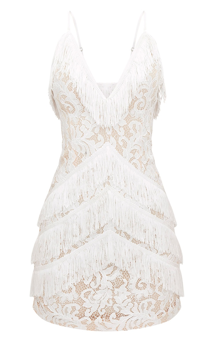 White Strappy Lace Tassel Detail Bodycon Dress 3