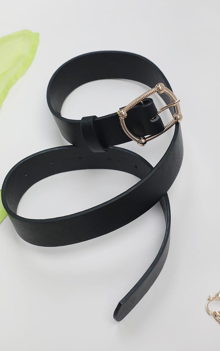 Black Pu Gold Textured Buckle Belt 1