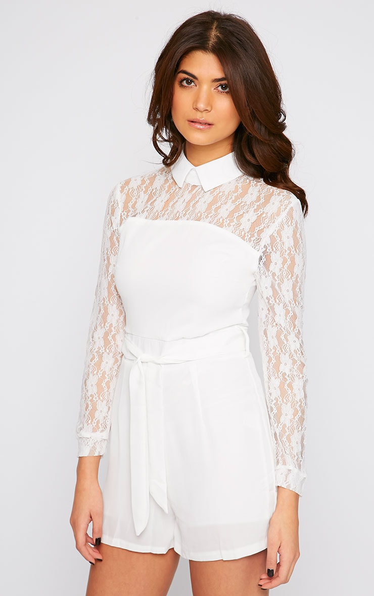 Nicky Cream Lace Long Sleeve Collar Playsuit 1