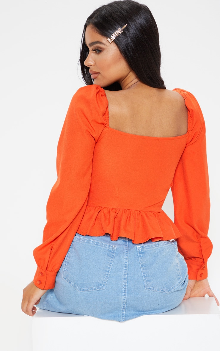 Petite Orange Cropped Frill Hem Square Neck Puff Sleeve Blouse 2