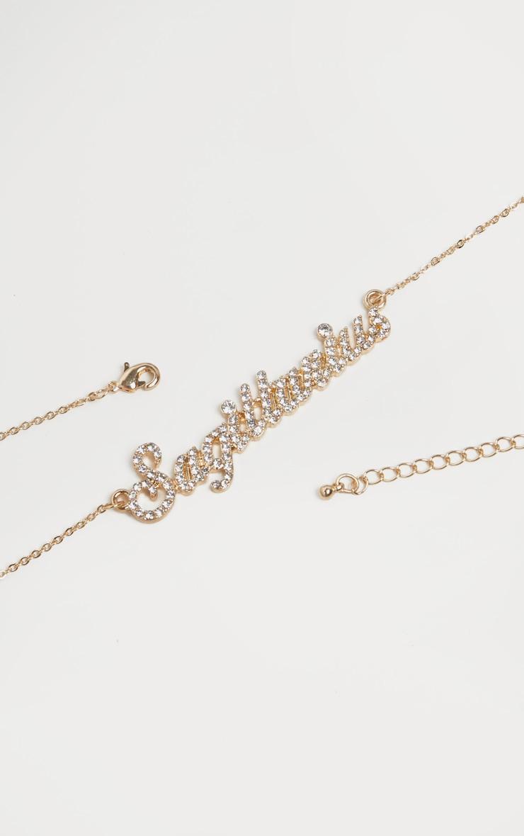 Gold Diamante Sagittarius Star Sign Necklace 4