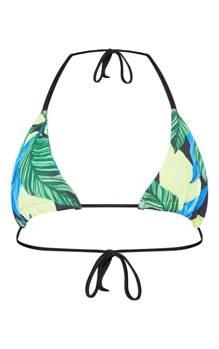 Green Leaf Print Triangle Bikini Top 5