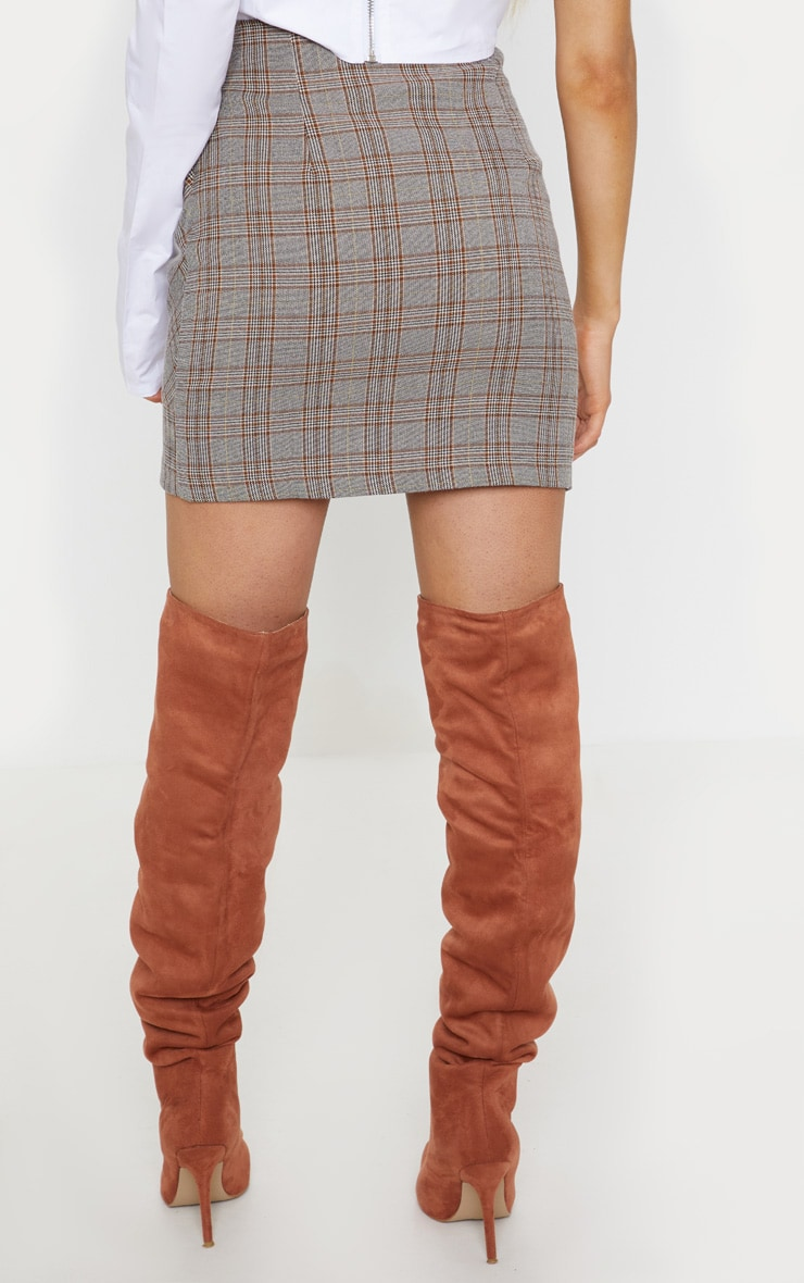 Brown Check Button Mini Skirt  4