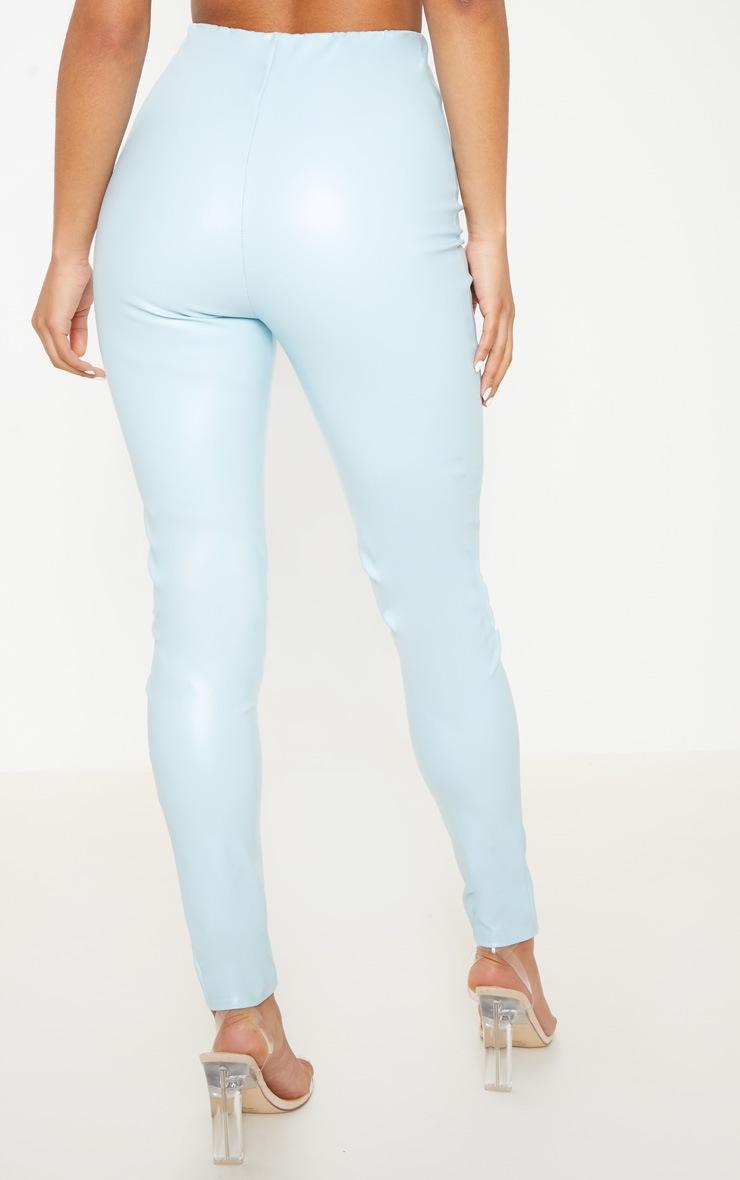 Pantalon skinny en similicuir bleu clair 3