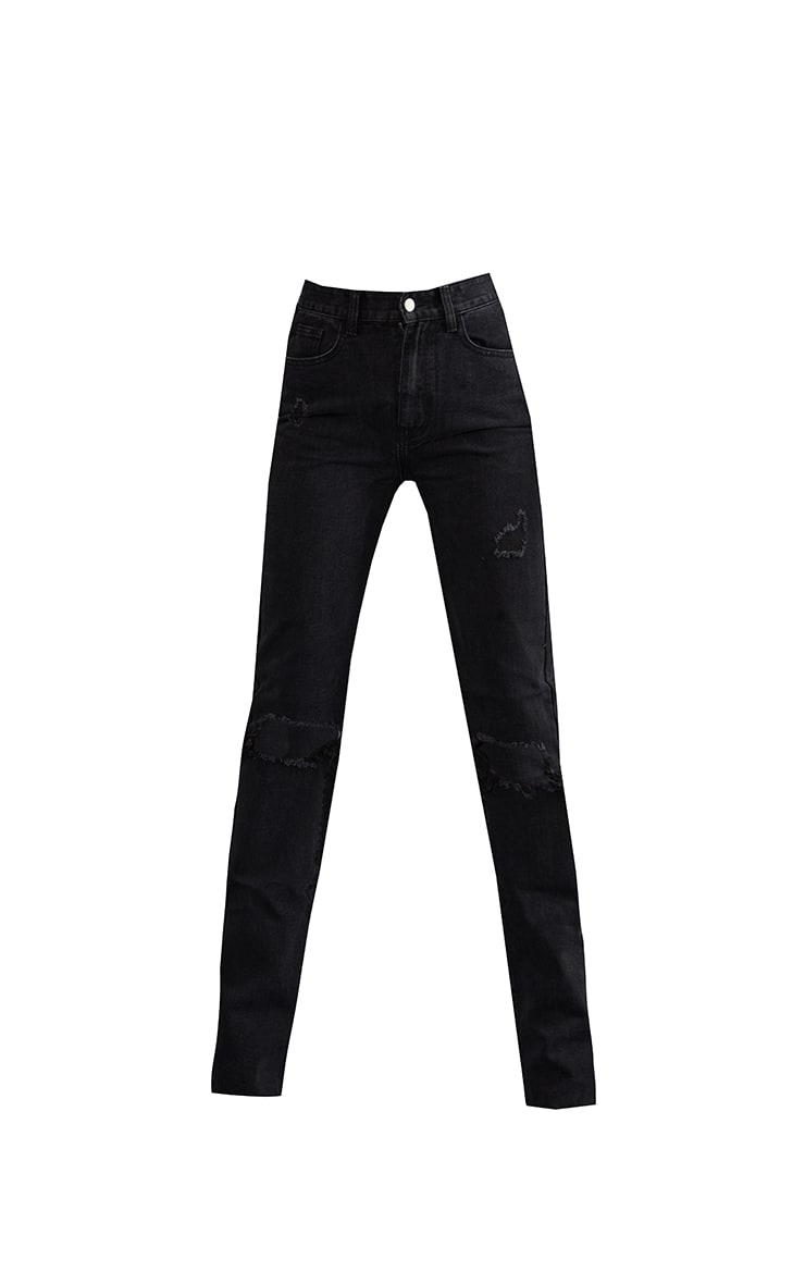 PRETTYLITTLETHING Tall Washed Black Ripped Long Leg Straight Jeans 5