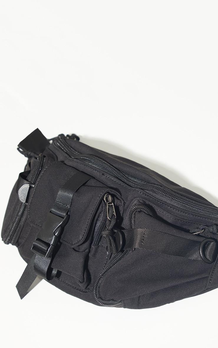 Black Oversized Multi Pocket Fanny Pack 2