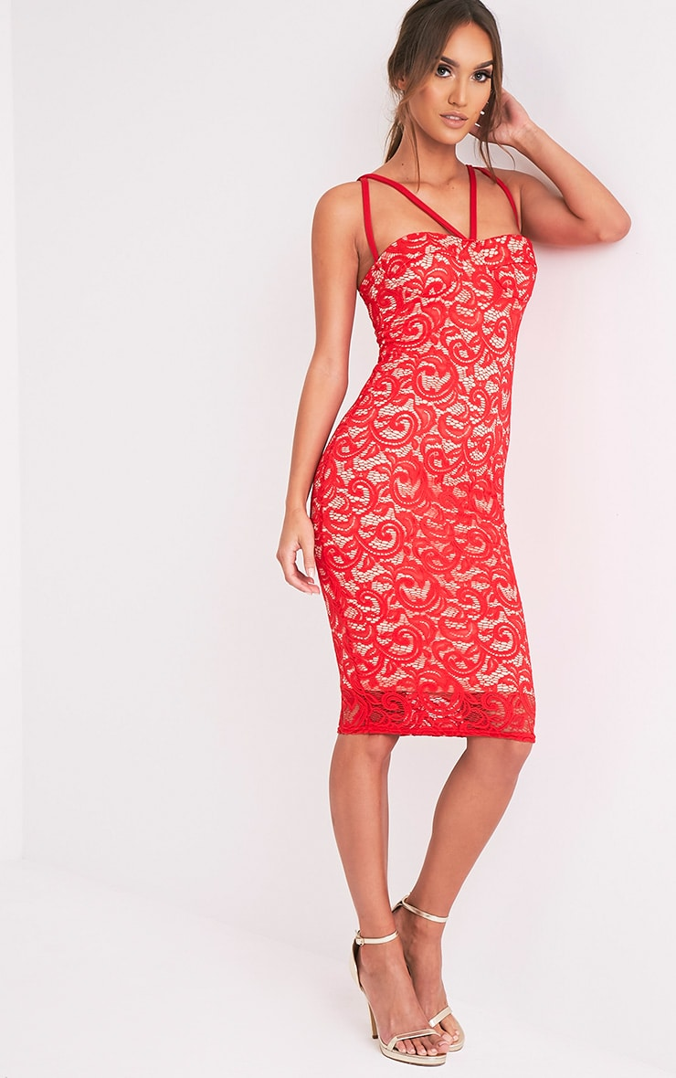 Mayley Red Lace Harness Detail Midi Dress 9