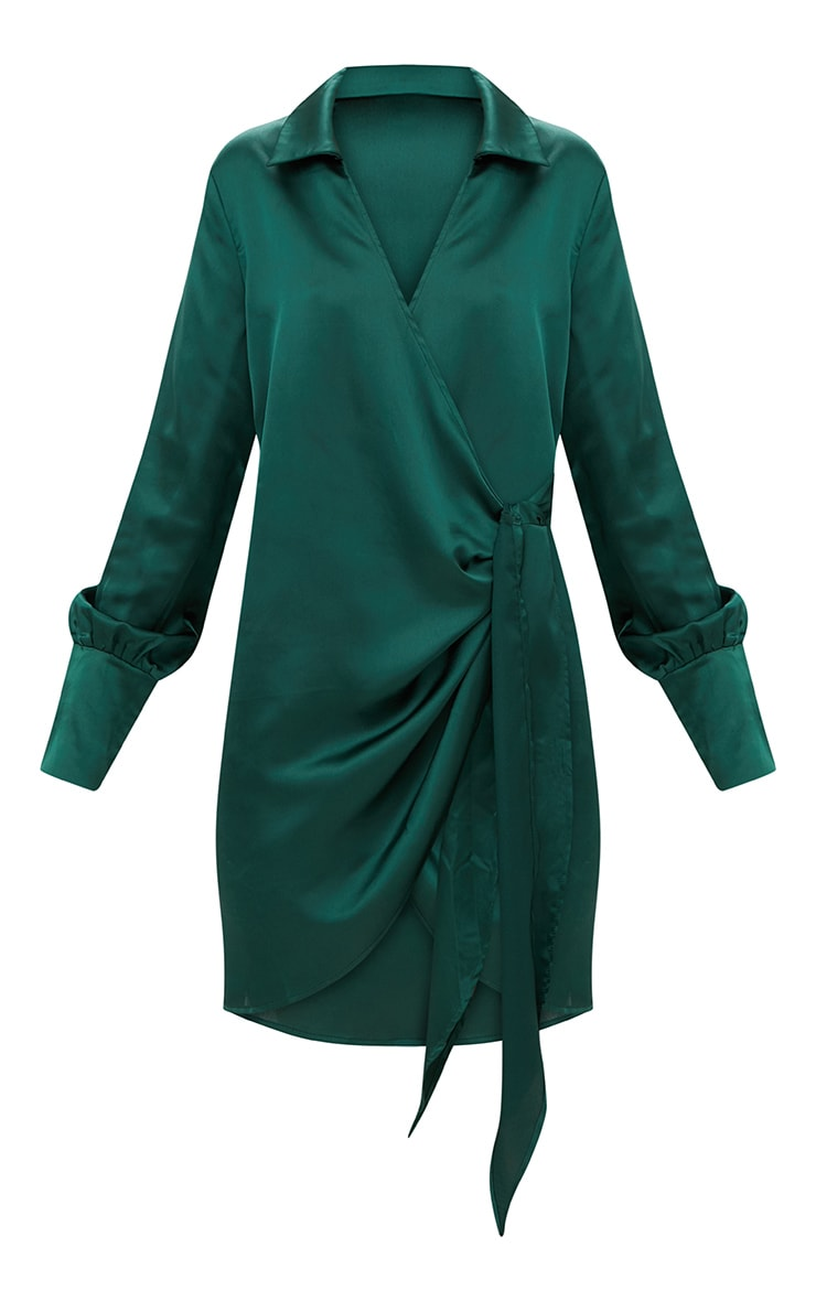 Emerald Green Satin Deep Cuff Wrap Front Shift Dress 3