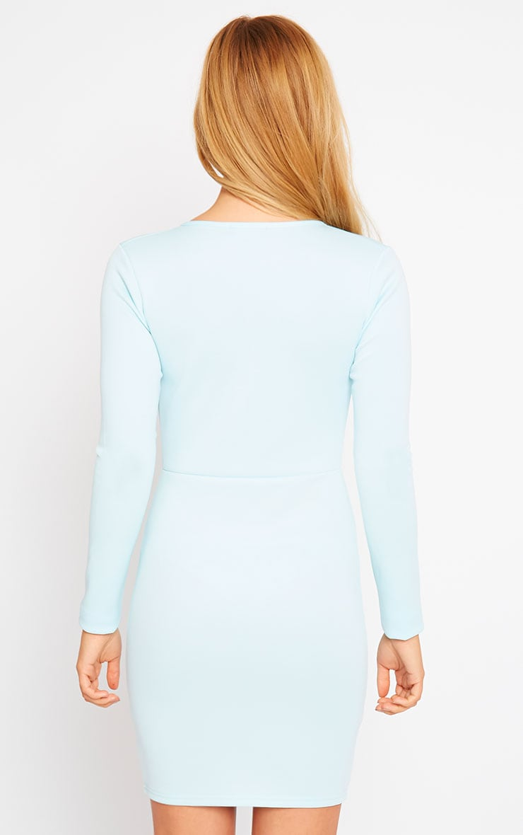 Cici Powder Blue Scuba Plunge Neck Dress 2