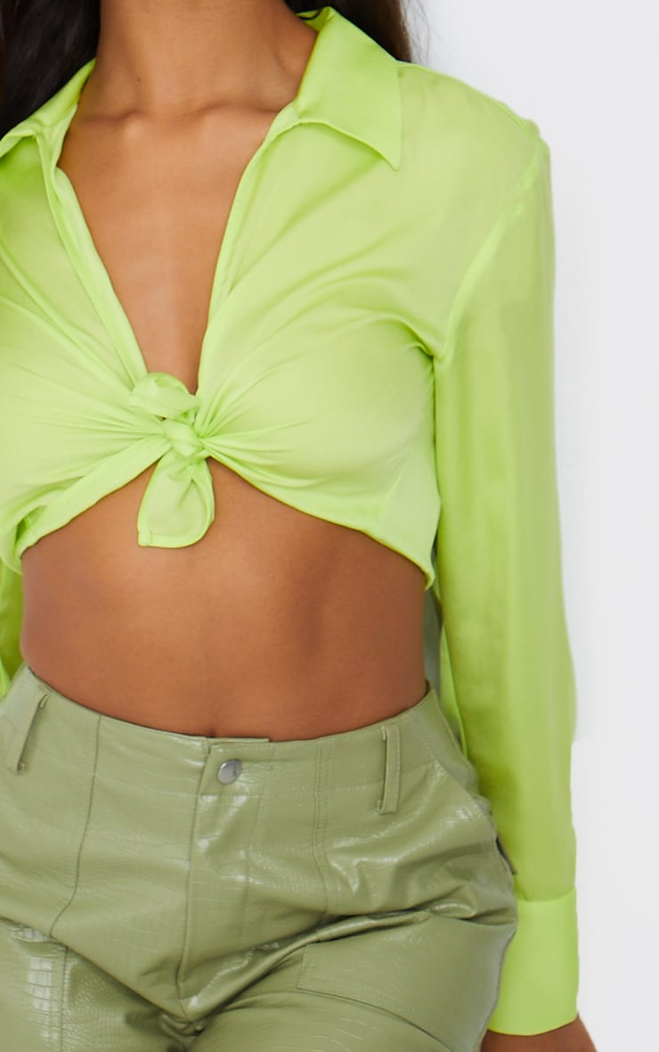 Lime Satin Collared Twist Front Cropped Shirt 4