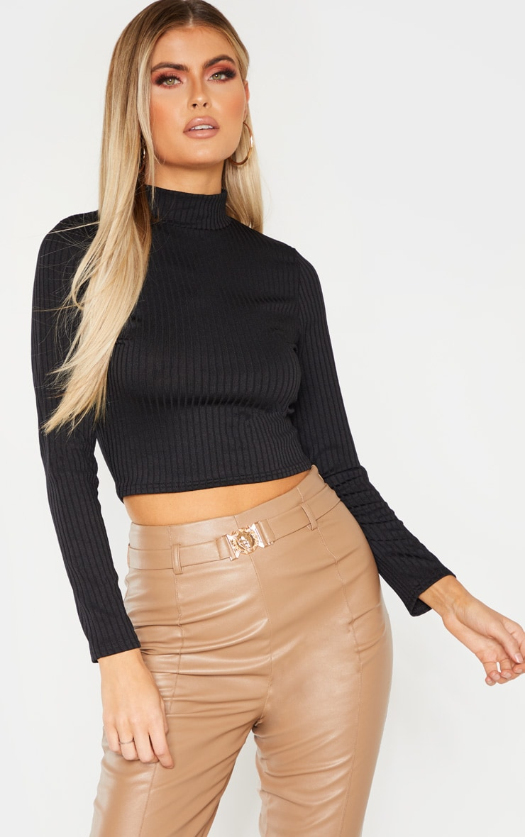 Tall Black High Neck Ribbed Long Sleeve Crop Top 1