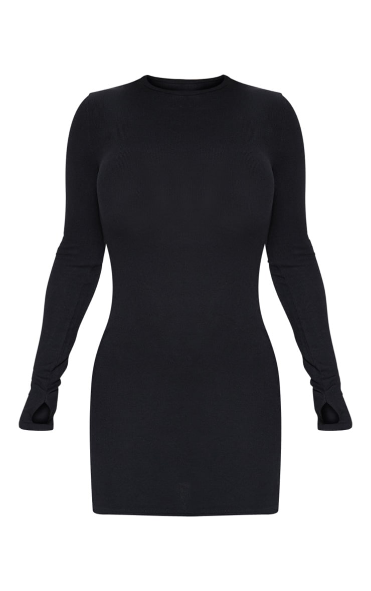 Black Long Sleeve Thumb Hole Bodycon Dress 3
