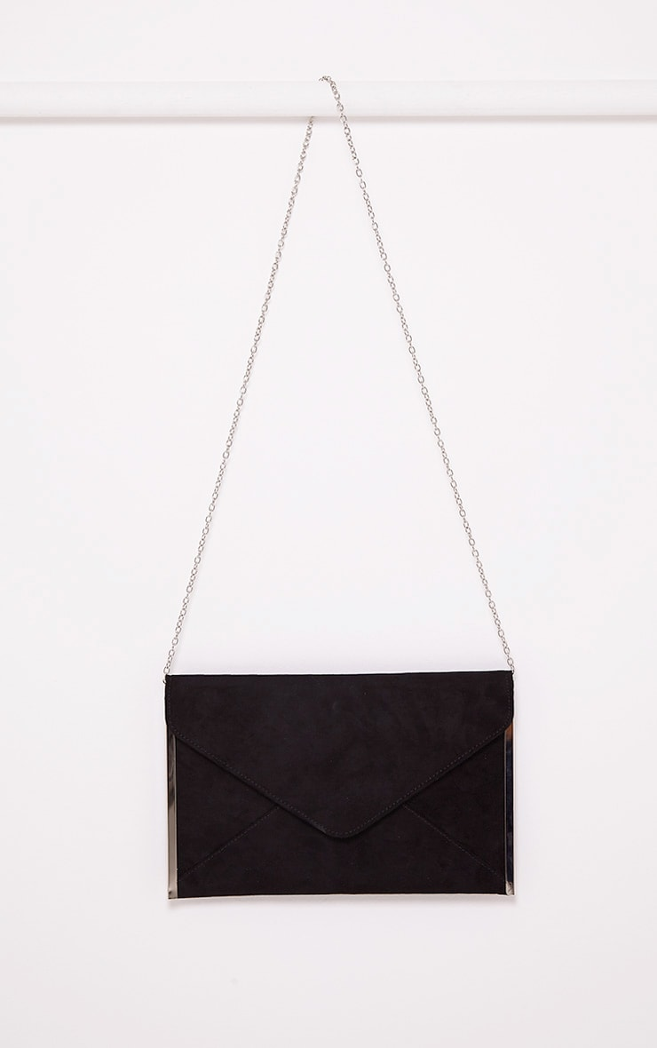 Tassa Black Faux Suede Envelope Clutch Bag 2