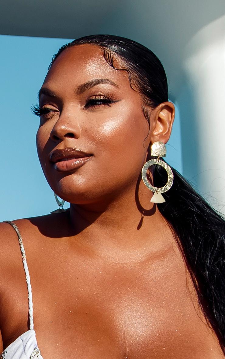 Gold Drop Hoop Textured Earrings 1