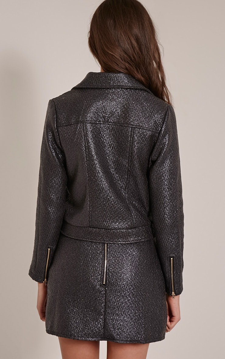 Yenni Black Iridescent Biker Jacket 2