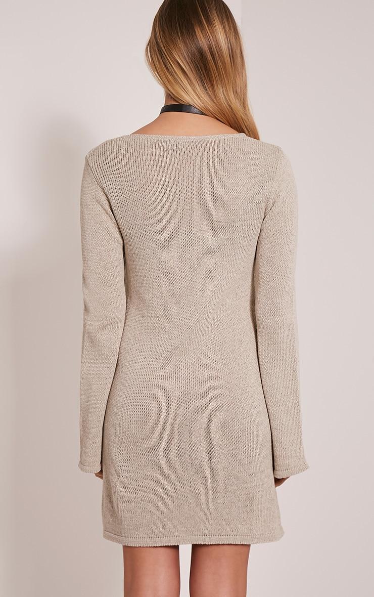 Nena Stone Knitted Bell Sleeve Dress 2