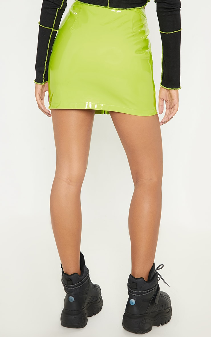 Neon Lime Vinyl Mini Skirt 5
