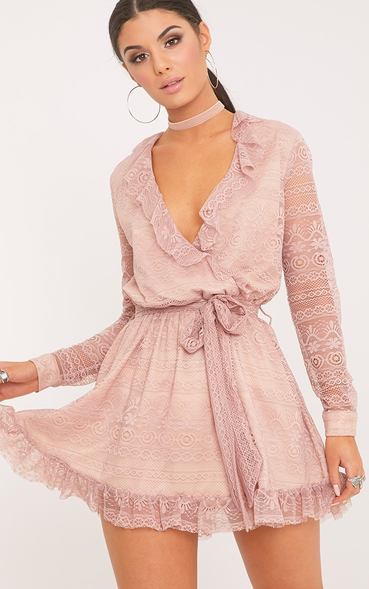 Kamini Dusty Pink Lace Frill Wrap Over Shift Dress 1