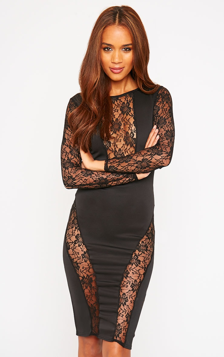Perla Black Lace Insert Dress 1