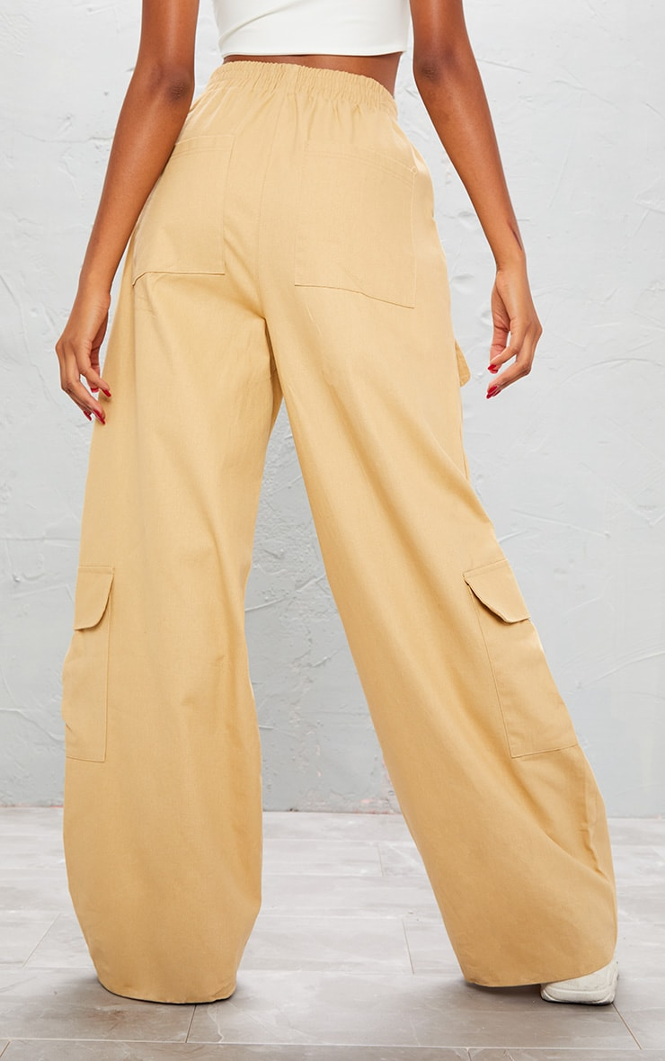 KARL KANI Camel Embroidered Wide Leg Cargo Trousers 6
