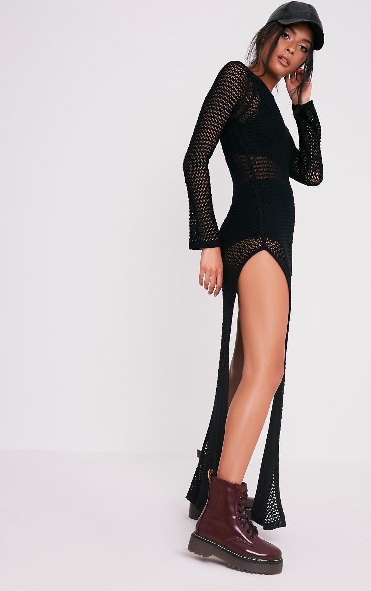 Fennelia Black Loose Knit Side Split Maxi Dress 4