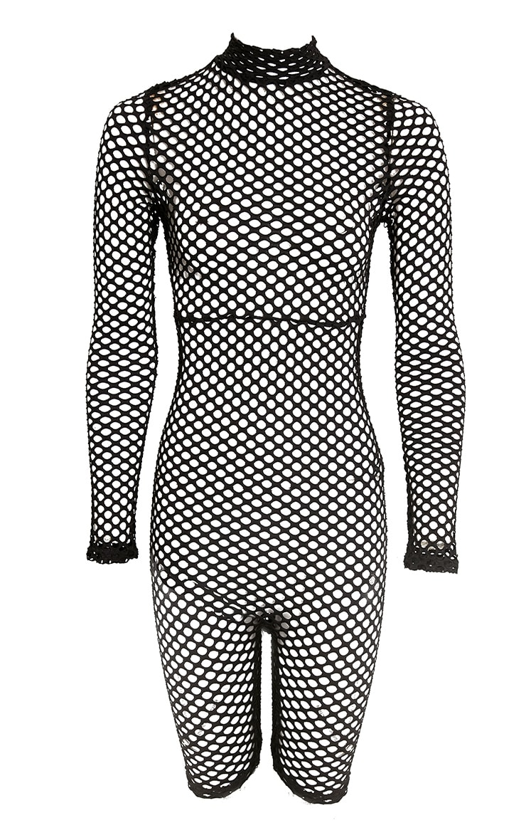 Kloe Black Fishnet Unitard 3