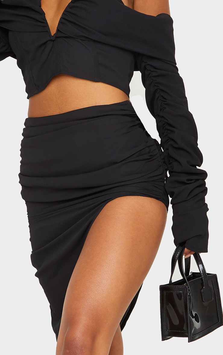 Black Woven V Bar Draped Front Ruched Sleeve Crop Top 5