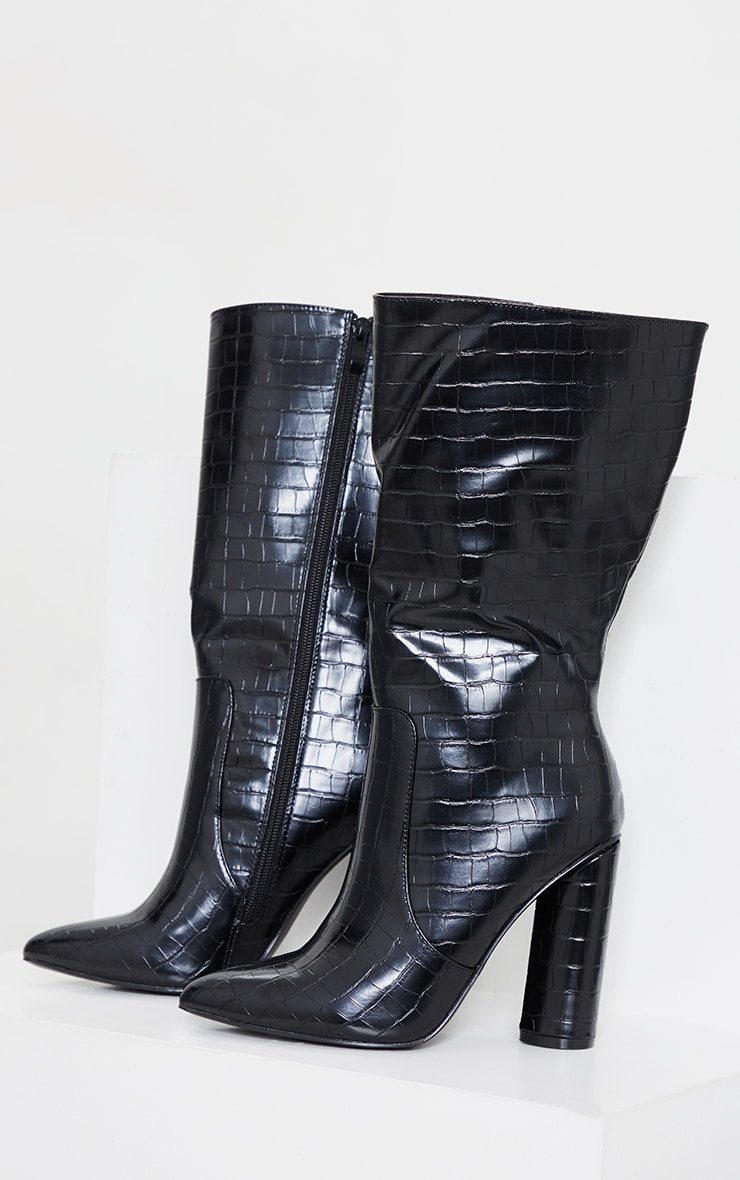 Black Croc Point Toe Round Heel High Calf Boot 3