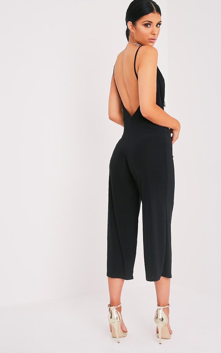 Sofia Black Scoop Front Culotte Slinky Jumpsuit  5