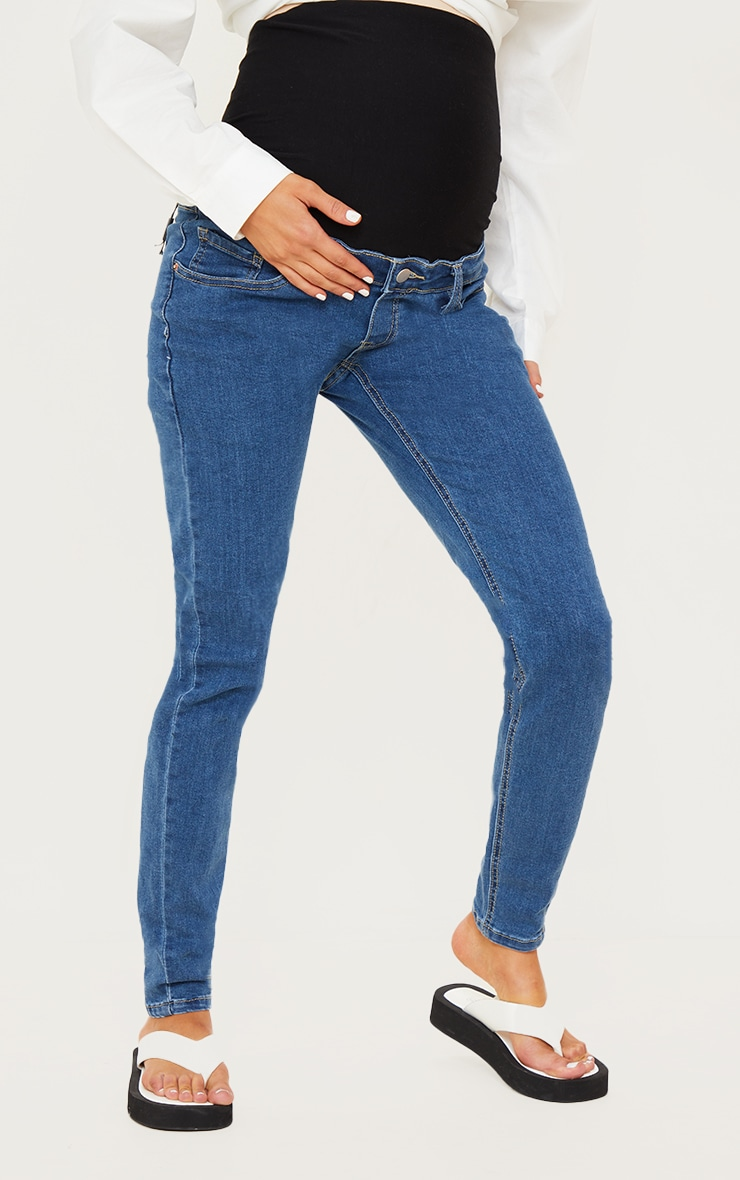 Maternity Mid Wash Skinny Jeans 2