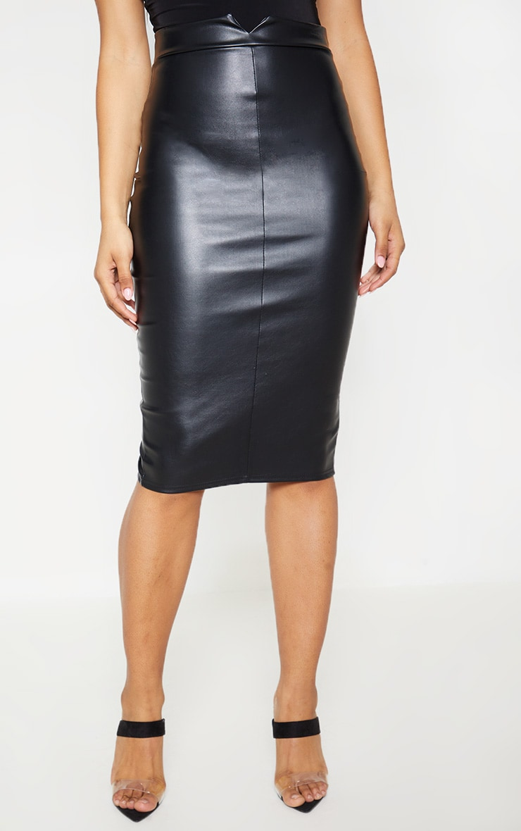 Tall Black Faux Leather Panel Midi Skirt 2