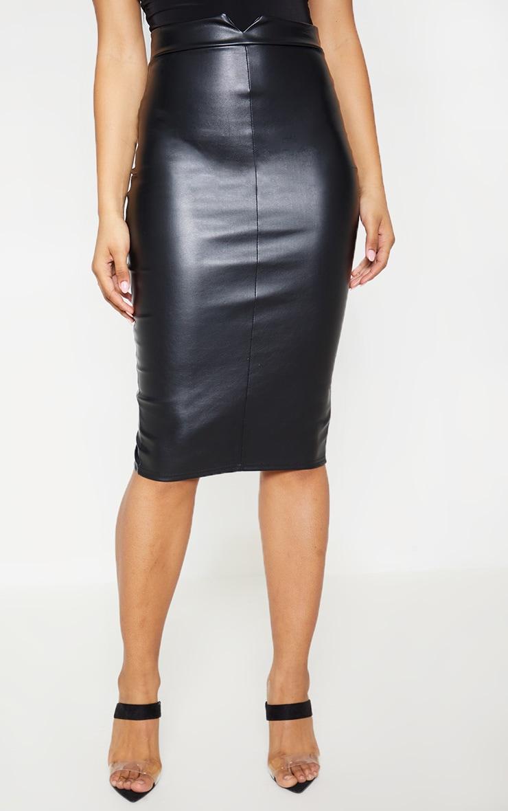 Tall Black Faux Leather Panel Midi Skirt 2