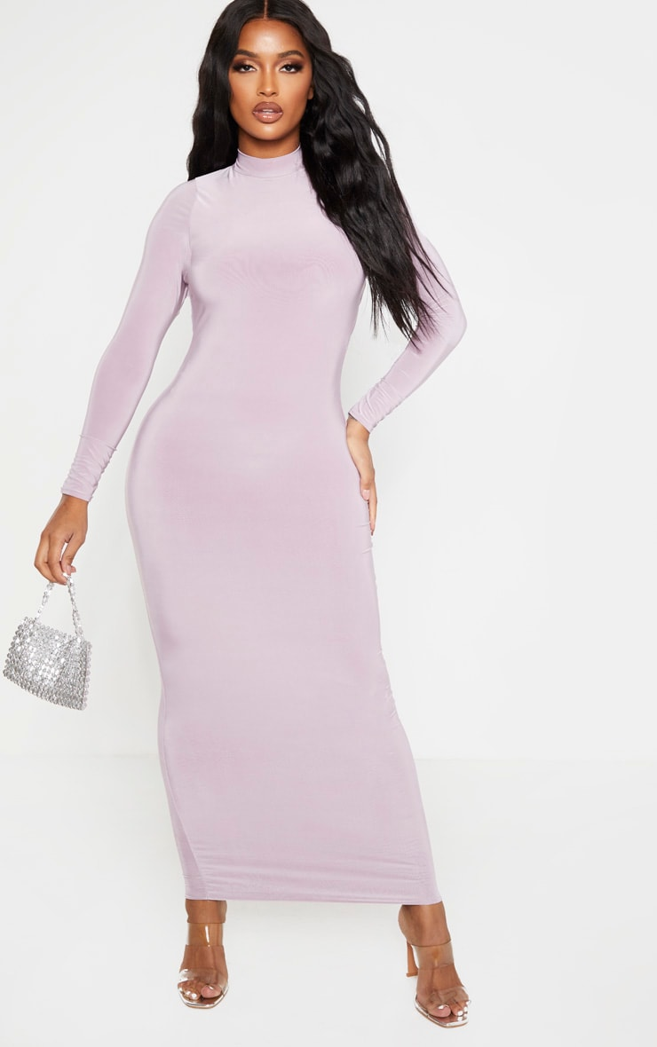 Shape Mauve Slinky High Neck Backless Maxi Dress 2