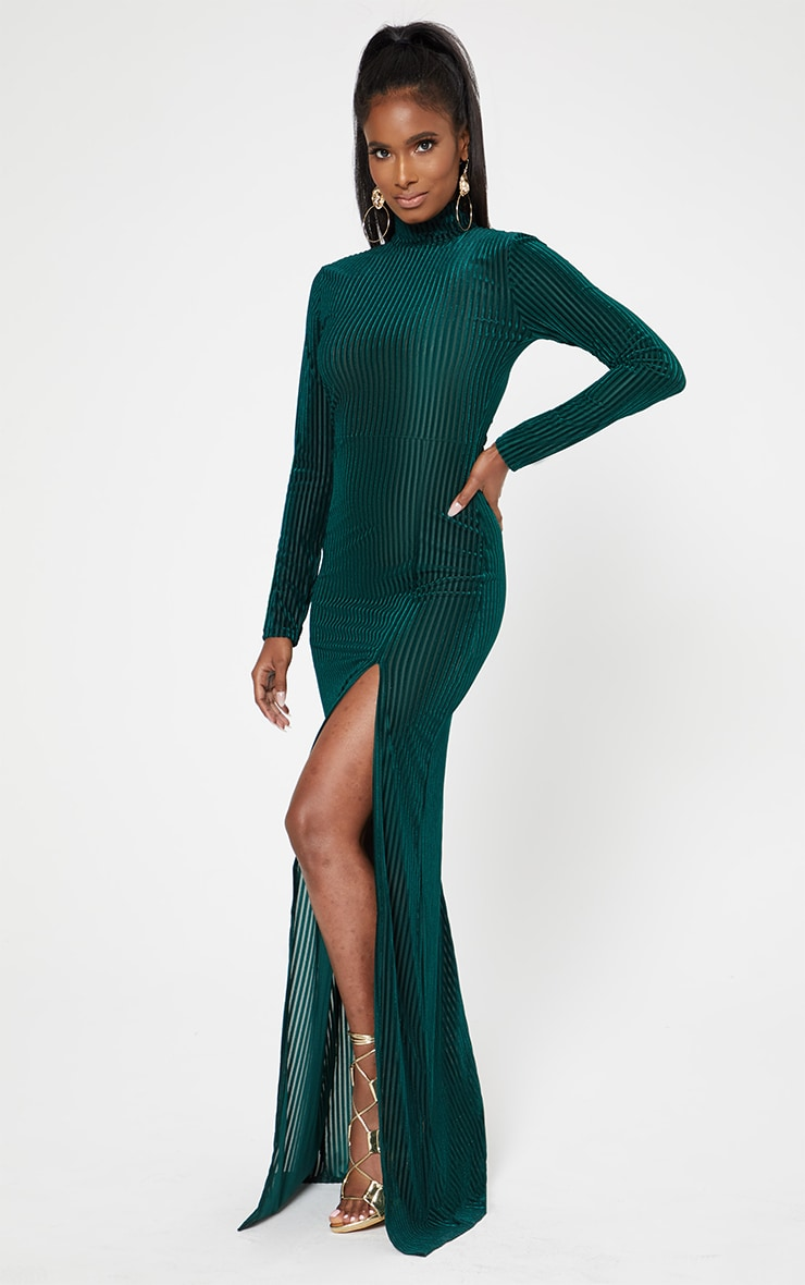Emerald Green High Neck Long Sleeve Extreme Split Maxi Dress 4