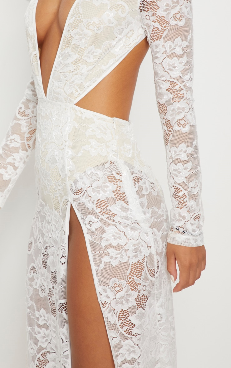 White Lace Plunge Backless Maxi Dress 5
