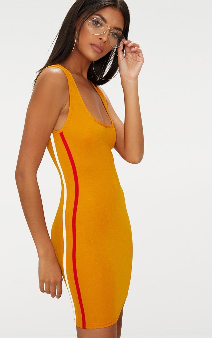 Mustard Scoop Neck Sports Stripe Bodycon Dress  1