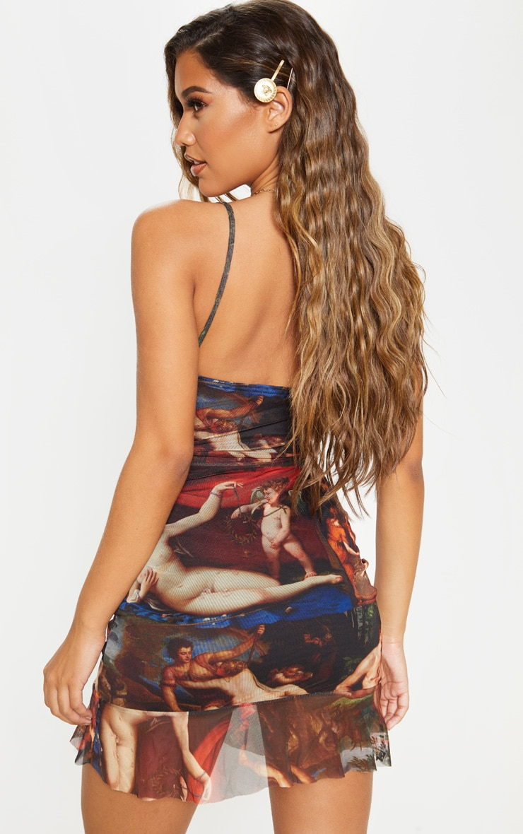 Multi Mesh Renaissance Print Ruched Bodycon Dress 2