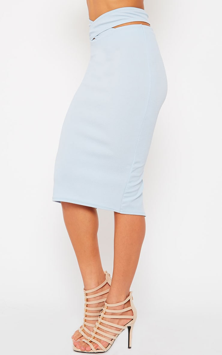 Shanel Blue Cut Out Midi Skirt 3