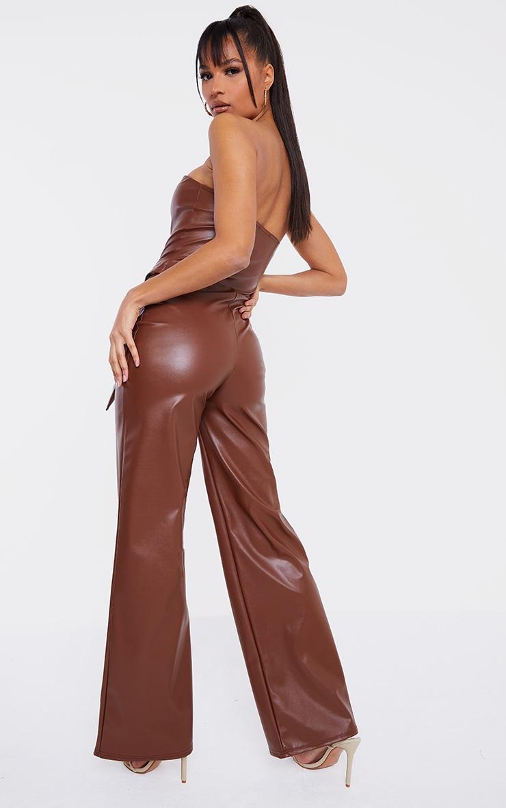 Camel PU V Bar Wide Leg Jumpsuit 2