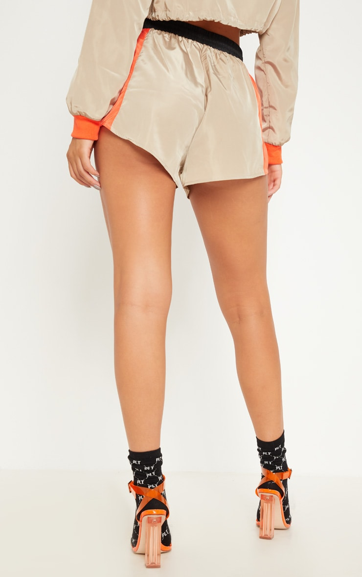 Stone Colour Block Shell Suit Short 4