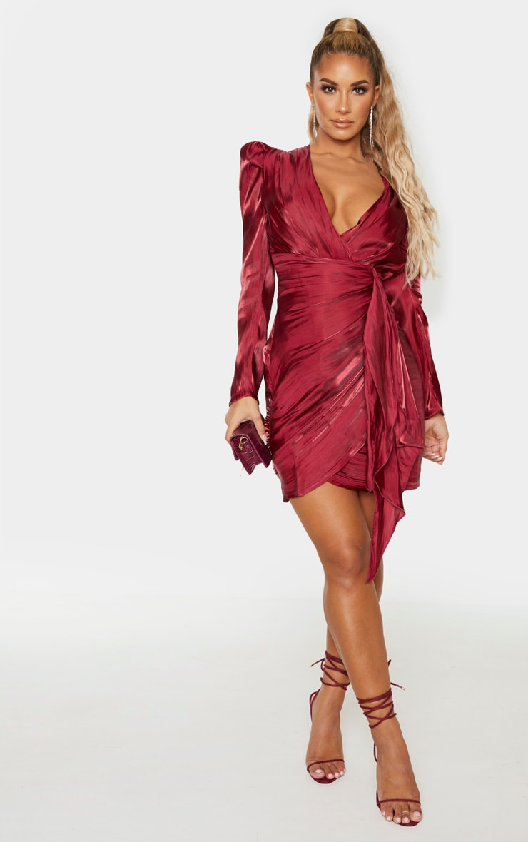 Burgundy Shimmer Satin Drape Pleat Detail Bodycon Dress 4