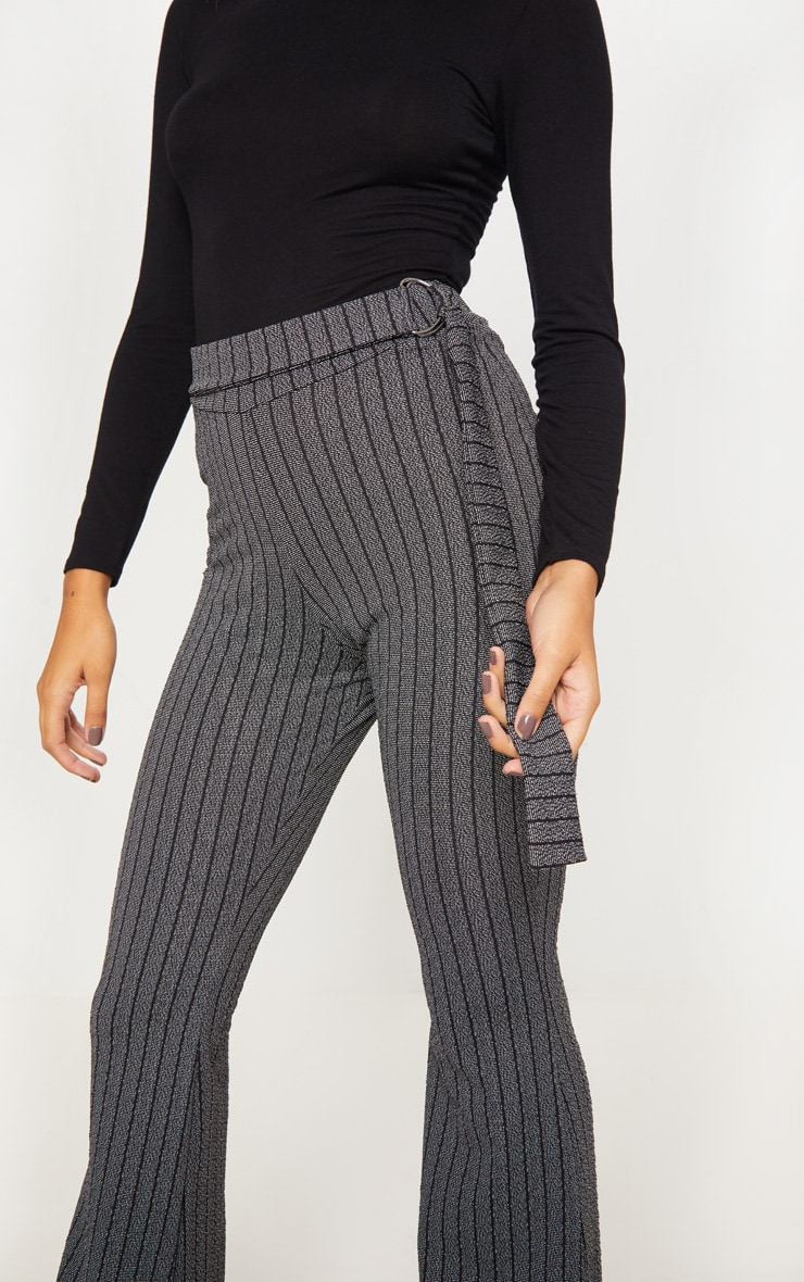 Grey D Ring Textured Stripe Wide Leg Pants 5