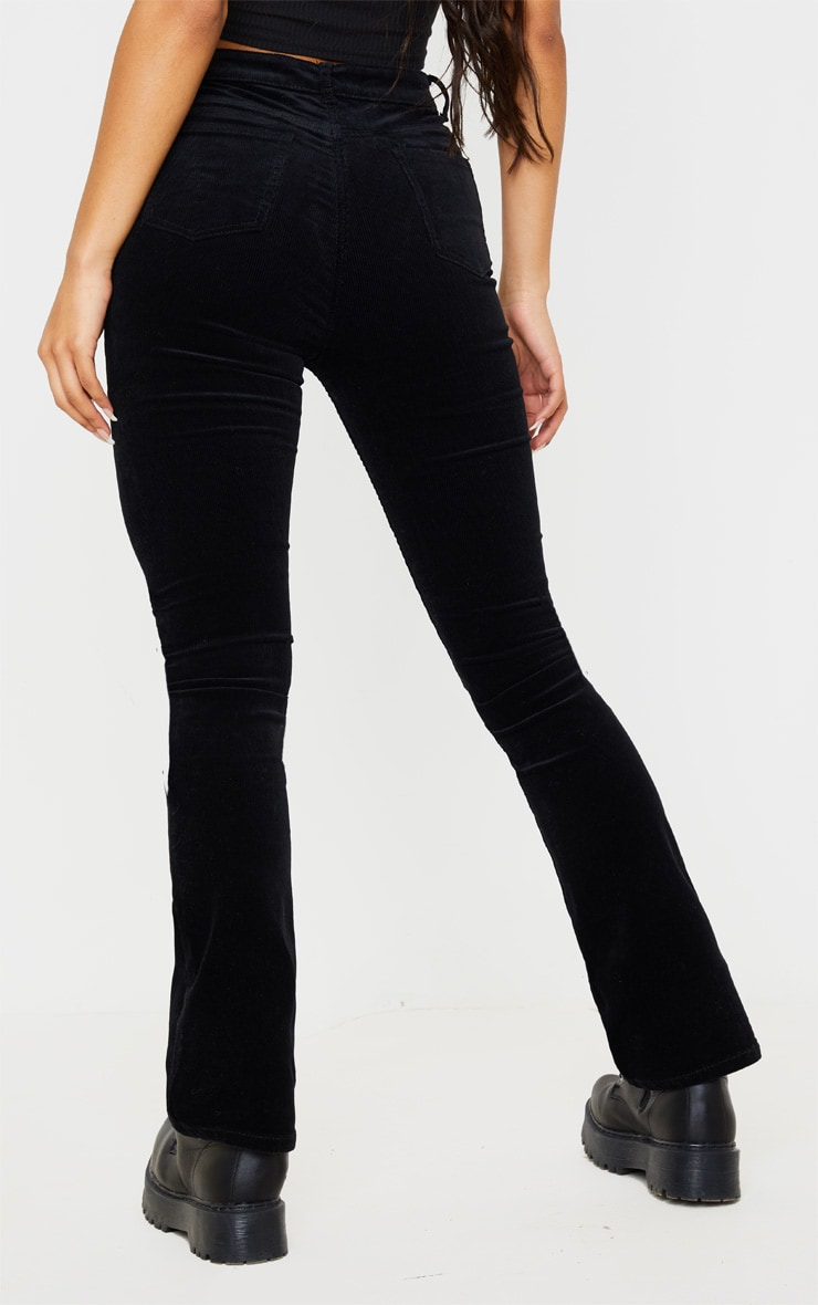 Black Cord Flare Jeans 4