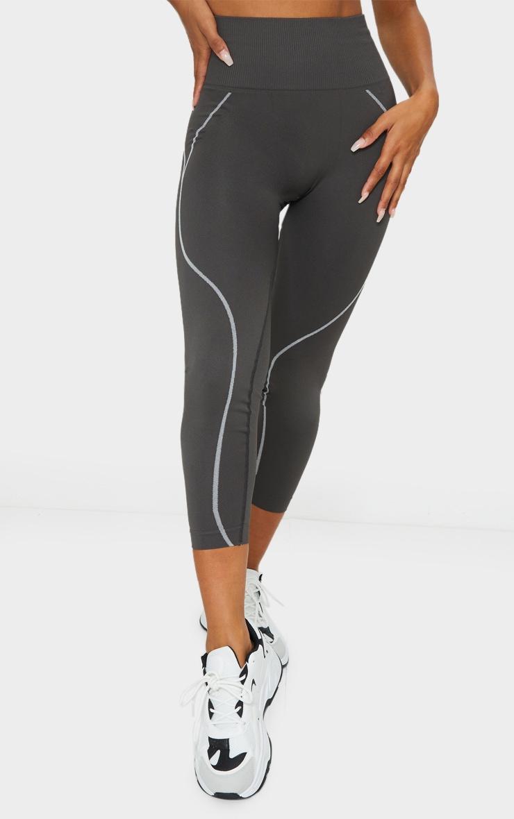Grey Seamless Detailed Sports Legging 2