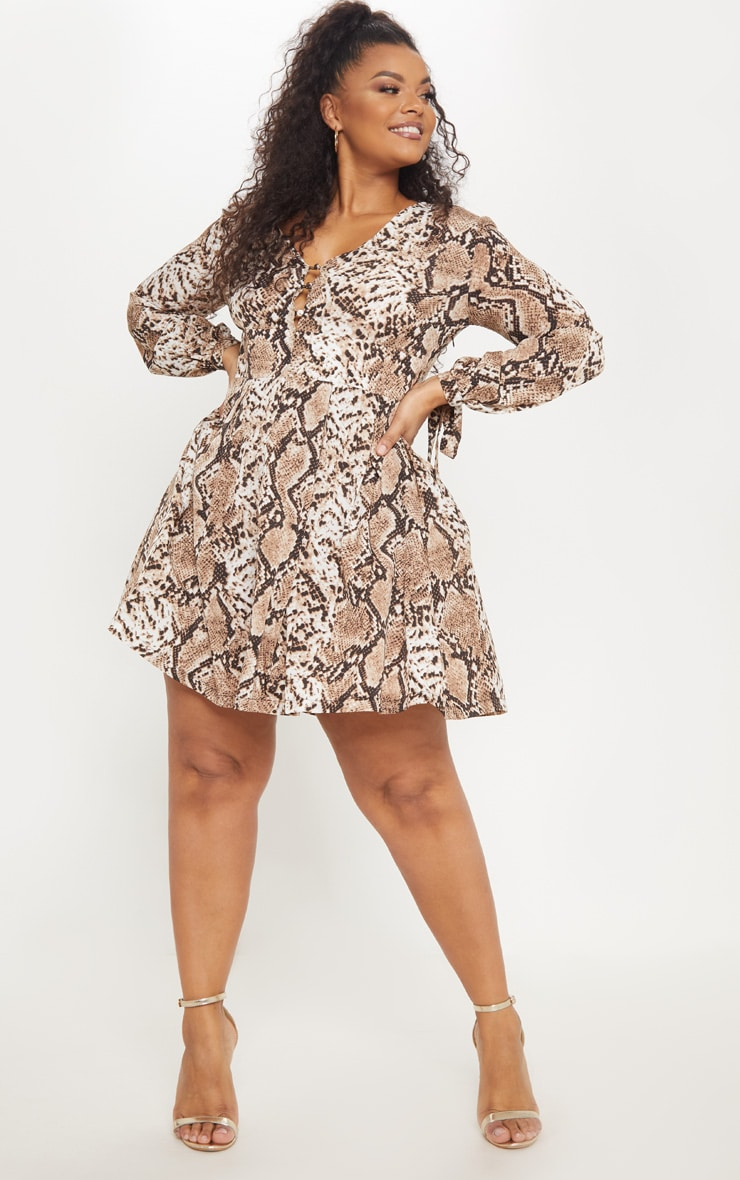 Plus Snake Print Taupe Button Detail Swing Dress 4