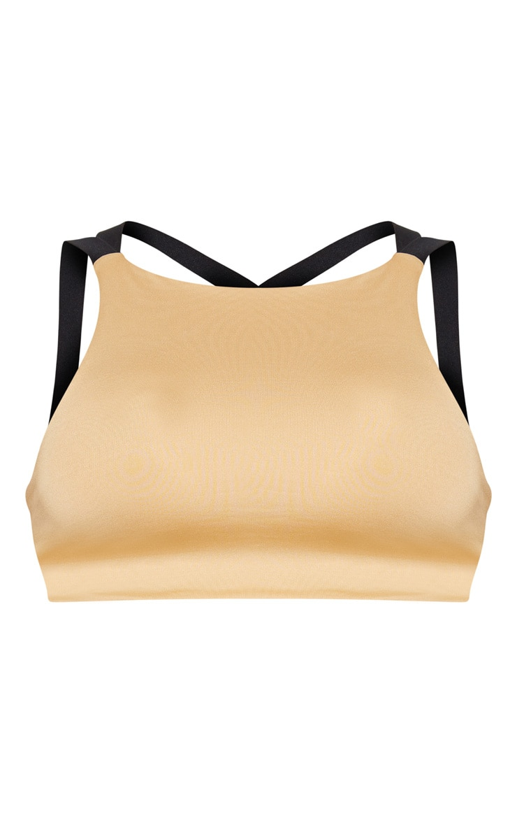 PRETTYLITTLETHING  Camel Strappy Back Gym Bralet 3