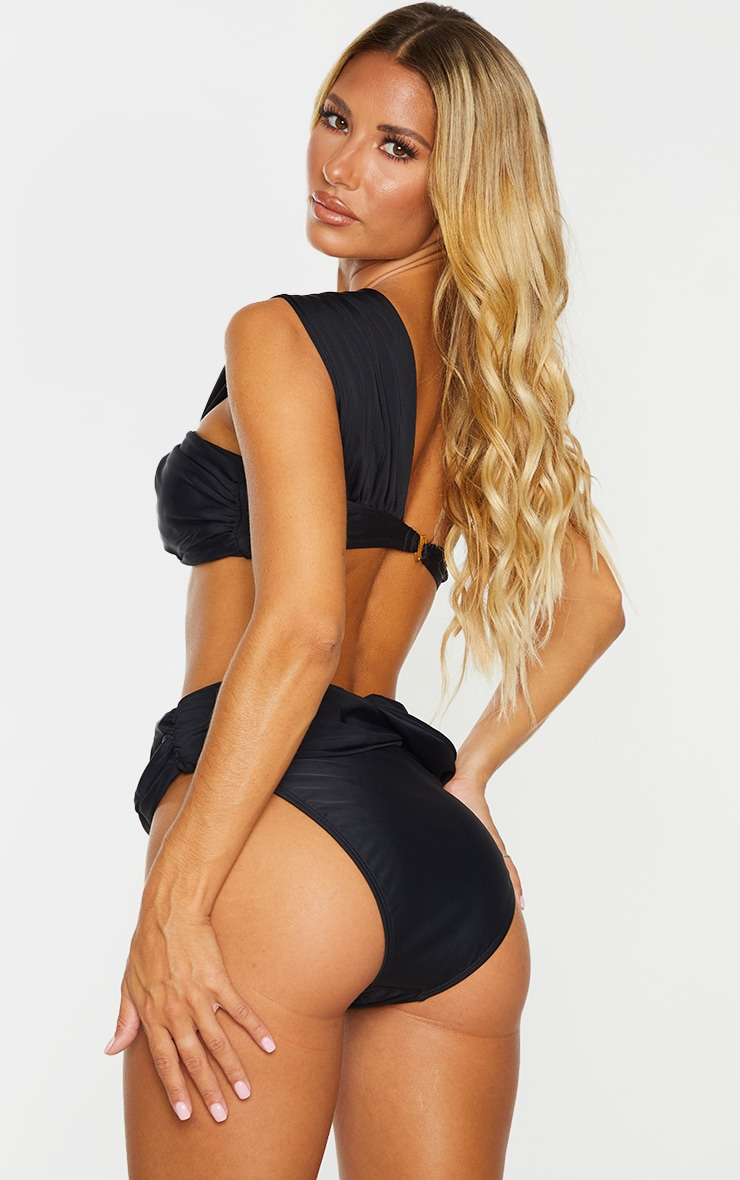 Black Padded Tie One Shoulder Bikini Top 2