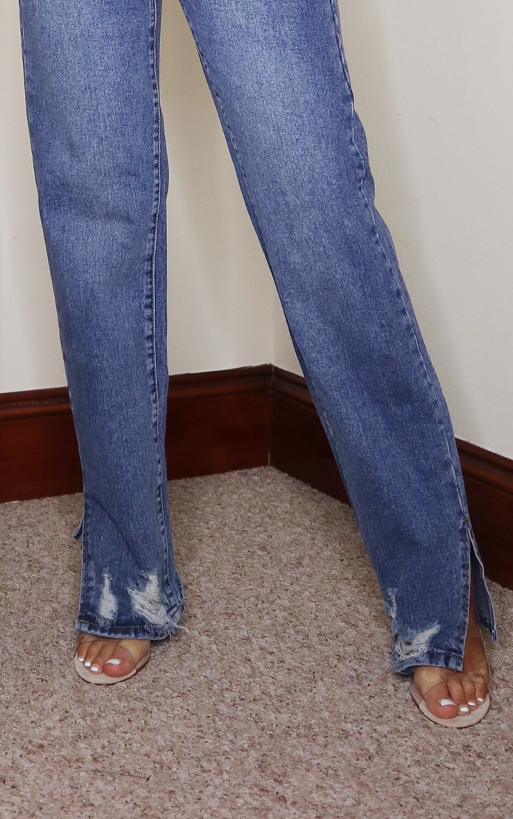Mid Blue Wash Distressed Split Hem Straight Leg Jeans 4