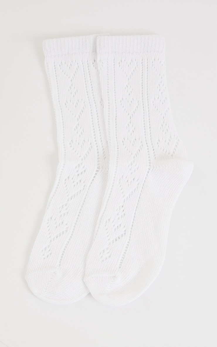 White Pointelle Heart Ankle Socks 3