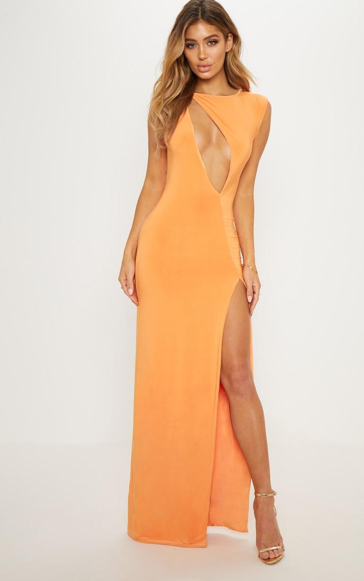 Tangerine Slinky Extreme Keyhole Split Leg Maxi Dress 1